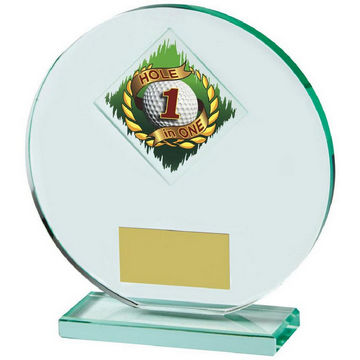 Heavy, Round Jade Glass Hole in One Golf Award