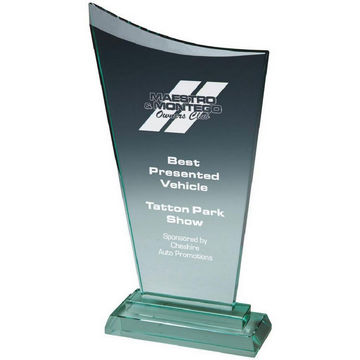 Bevelled Jade Glass Upright Corporate Award - Arc