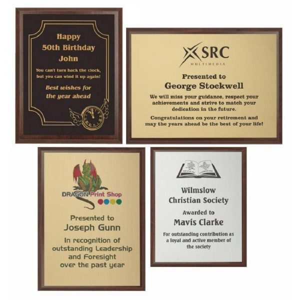 Wood Plaque Award with Colour Laminate Front