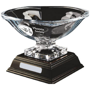 Bohemia Crystalite Bowl Award with Stem on Wood Stand