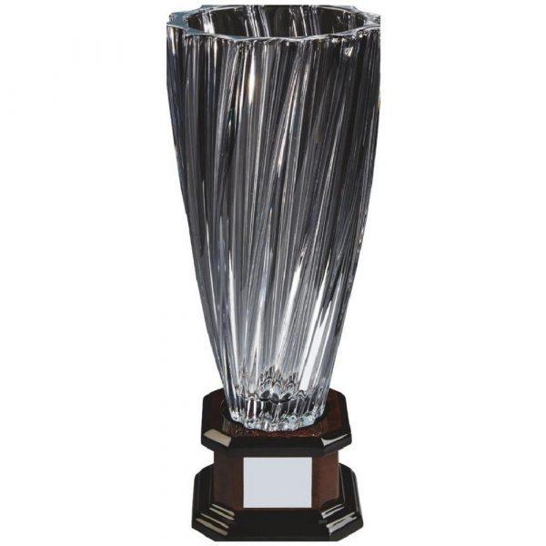 Bohemia Crystalite Twist Vase Award on Wood Stand