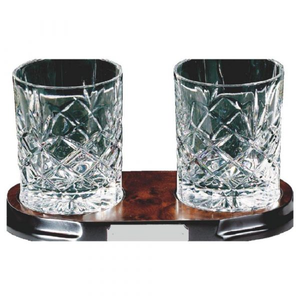 Two Full Cut Crystal Whisky Glasses on Wood Stand