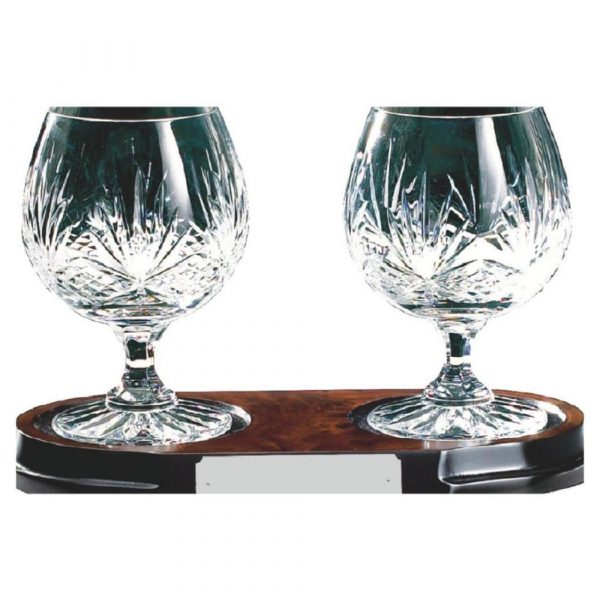 Pair of Cut Crystal Brandy Glasses on Burle Wood Stand