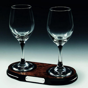 Two Wine Glasses on Wood Base