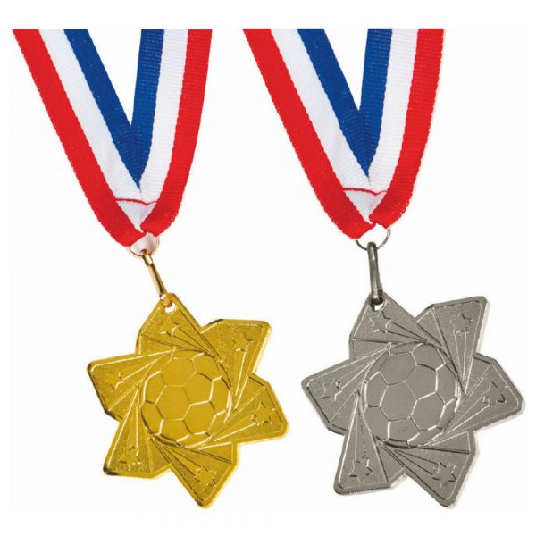 60mm Gold Star Football Medal with Ribbon