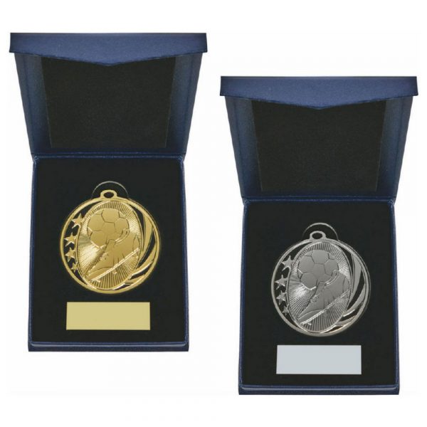 50mm Gold Boot/Ball Medal in Case